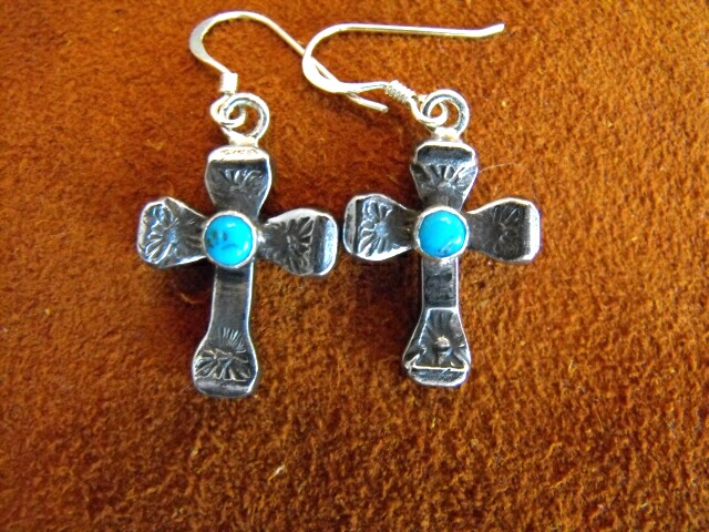 Turquoise accented Horseshoe Nail Cross earrings